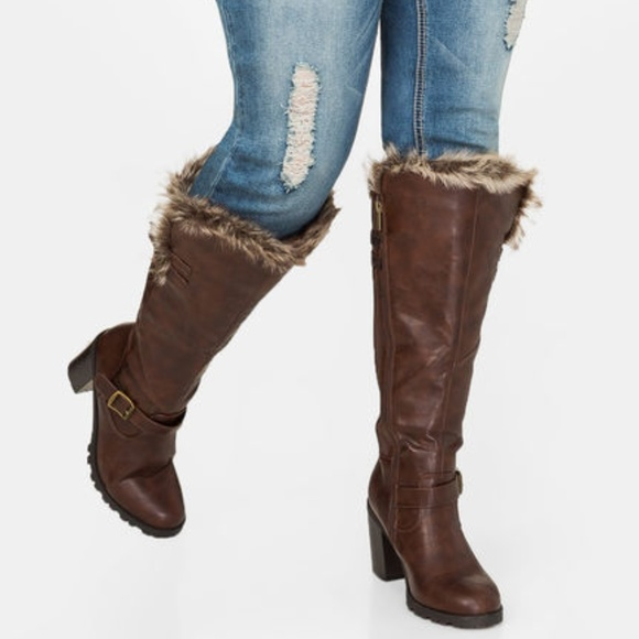 2e694be32ac Ashley Stewart Shoes - Ashley Stewart Chunky Fur Lined Tall Boot size 12W